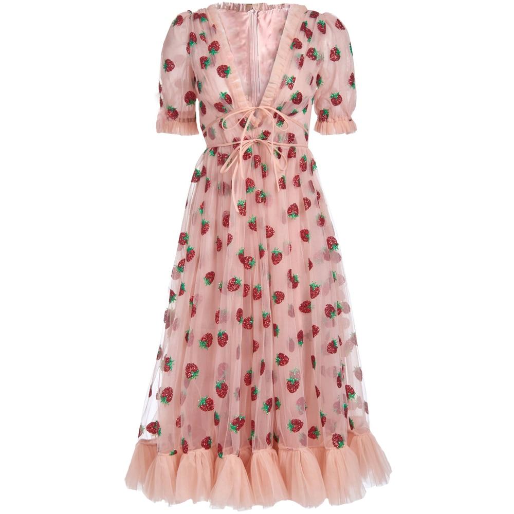Женское Сетчатое платье красного цвета RoosaRosee, с v-образным вырезом и коротким рукавом, весна-лето 2020
