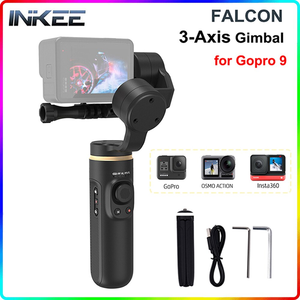 360°rotating panoramic tripod delay stabilizer for gopro hero 9 8 7 6 5 4 dji osmo action iphone canon camera sony mini slr INKEE FALCON 3-Axis Action Camera Handheld Gimbal Stabilizer Anti-Shake Wireless Control for GoPro Hero 9 8/7/6/5 OSMO Insta360