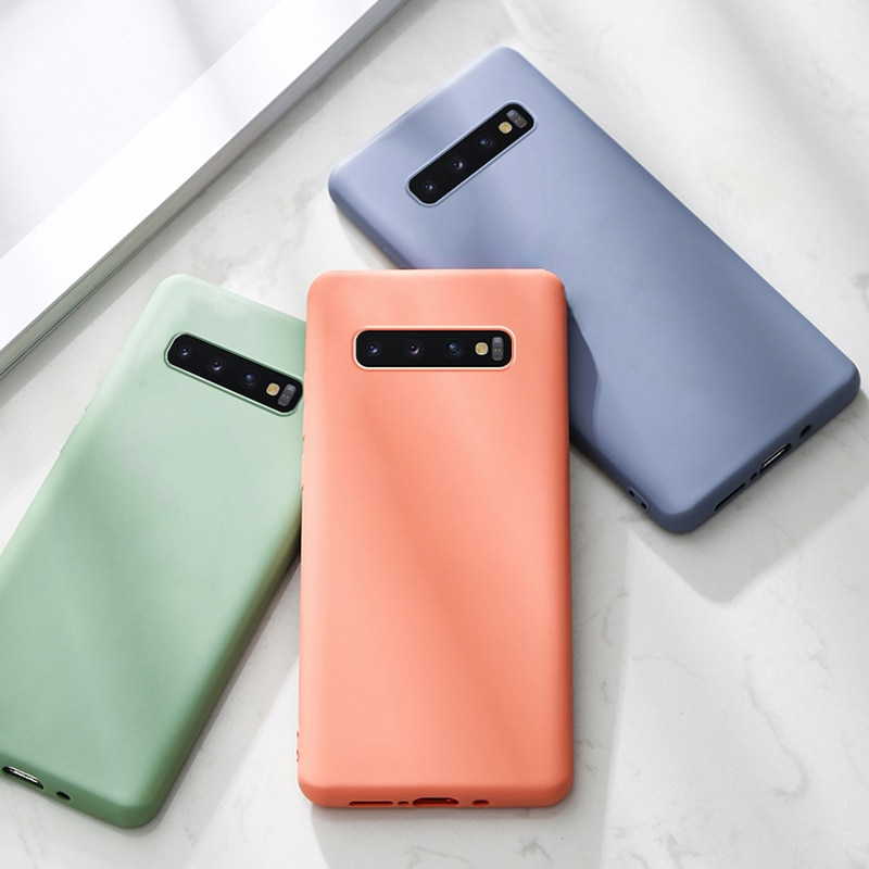 Silicona suave líquida caso de teléfono para Samsung Galaxy Nota 10 S10 más S9 S8 9 8 A6 2018 A50 A50S A70 Note9 Note10 S9Plus cubre en