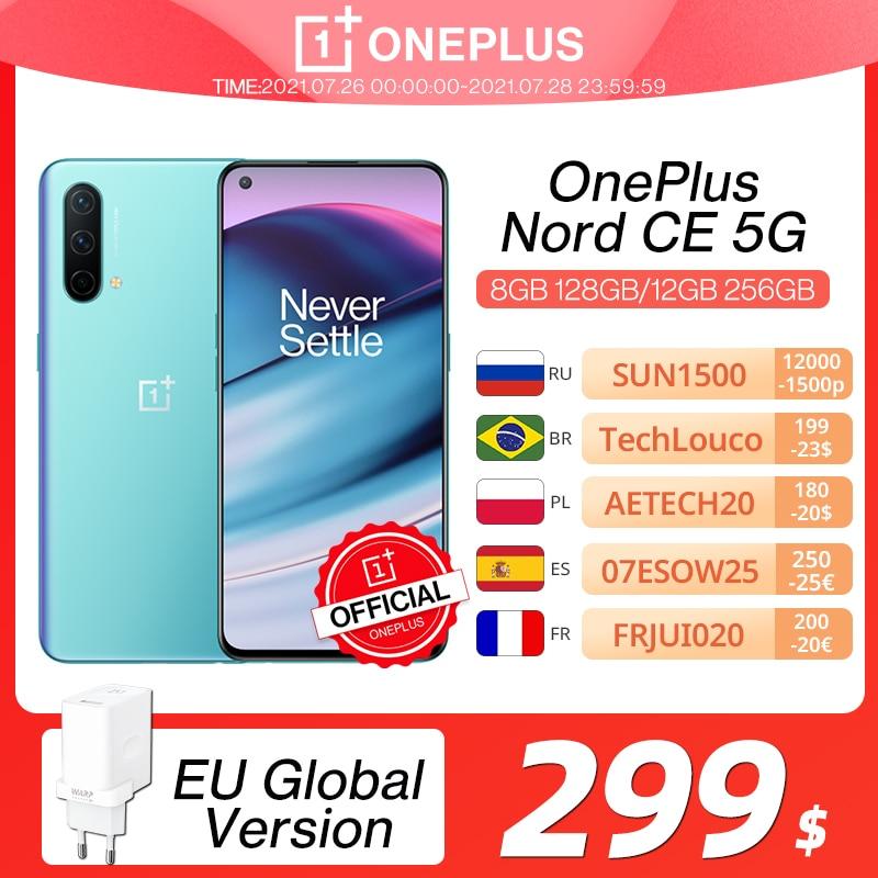Мировая премьера OnePlus Nord CE 5G EB2103 Смартфон 8 ГБ 128 ГБ и 12 ГБ 256 ГБ Snapdragon 750G Warp Charge 30T Plus 90 Гц AMOLED OnePlus Official Store; код(for APP): 4DEAL005(P900-300) 4DEAL004(P900-300)