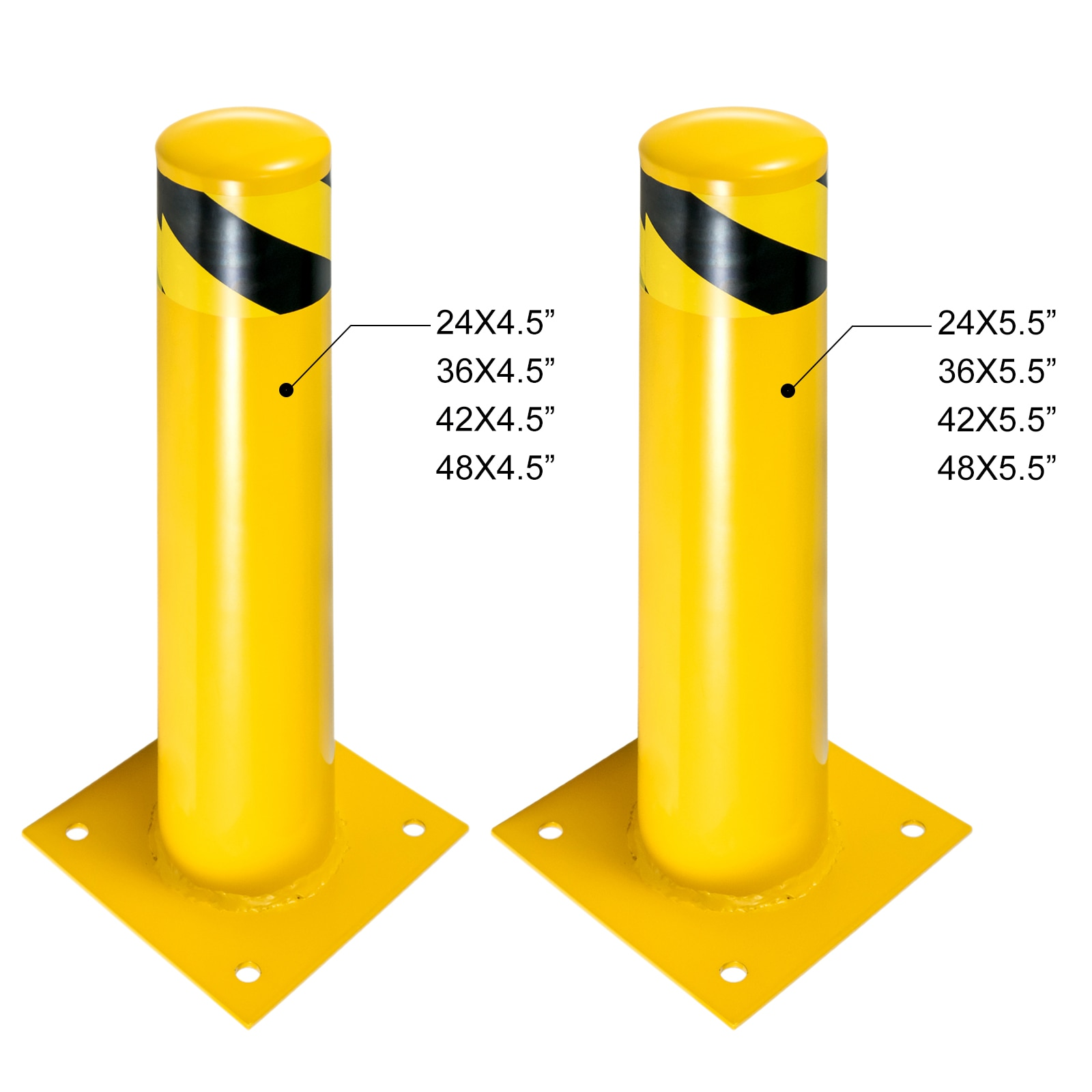 VEVOR защитный столбик, стальной столбик, желтое порошковое покрытие, стальной барьер с 4 бесплатными анкерными болтами для чувствительной к д...