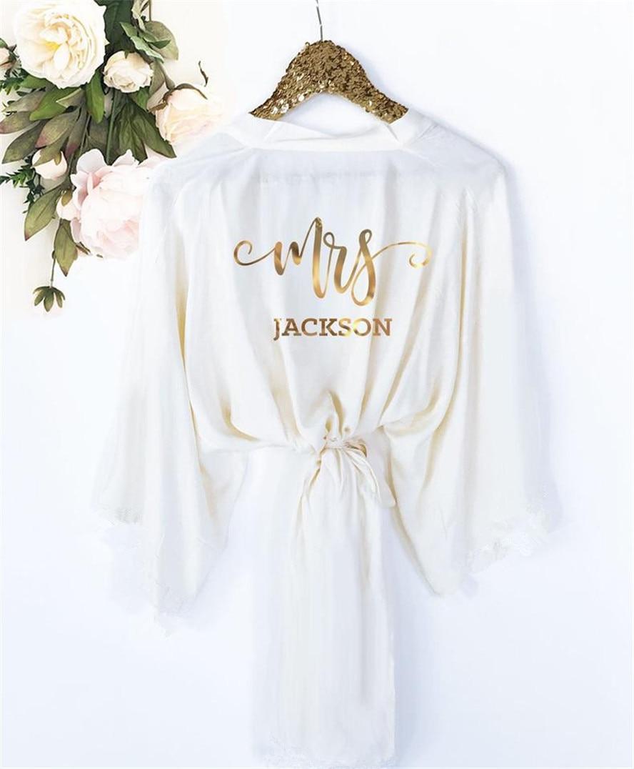 Personalized Bride Robe Custom Mrs Robe Wedding Bridal Party Gifts Bridal Shower Bride Bridesmaid Team Robe
