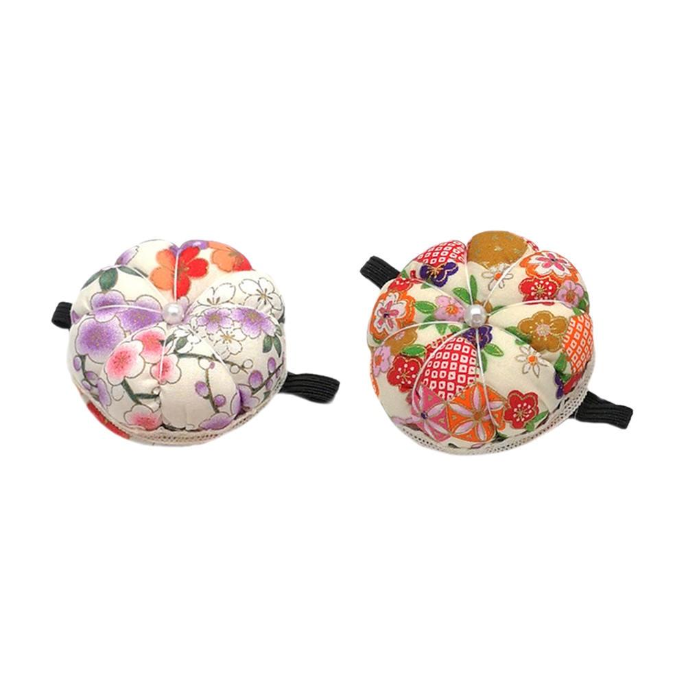 2 pièces broches coussins artisanat outil pour point de croix outils de couture tissu citrouille forme support avec élastique poignet