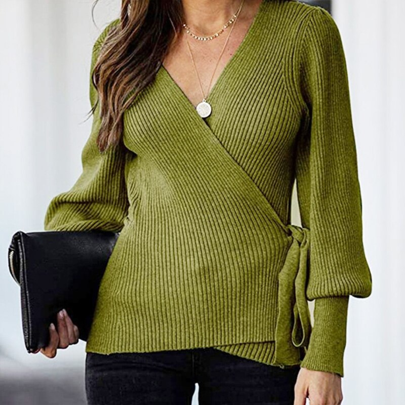 Women Sexy Wrap V-Neck Sweater Lantern Sleeve Ribbed Knit Belted Jumper Tops enlarge