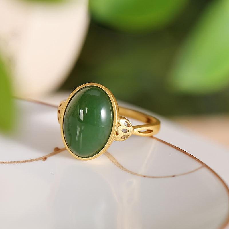 S925 Silver Retro Green Hetian Jade Jasper Rings For Women Finger Open Ring Fine Jewelry Mom Gift Accessories K0032
