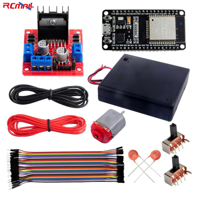 c300 bluetooth handle wifi rc control robot tank chassis car kit with uno r3 development board 4 road motor driver board diy ESP32 DOIT DEVKIT V1 Board with DC Motor and L298N Motor Driver Kit-Control Speed and Direction