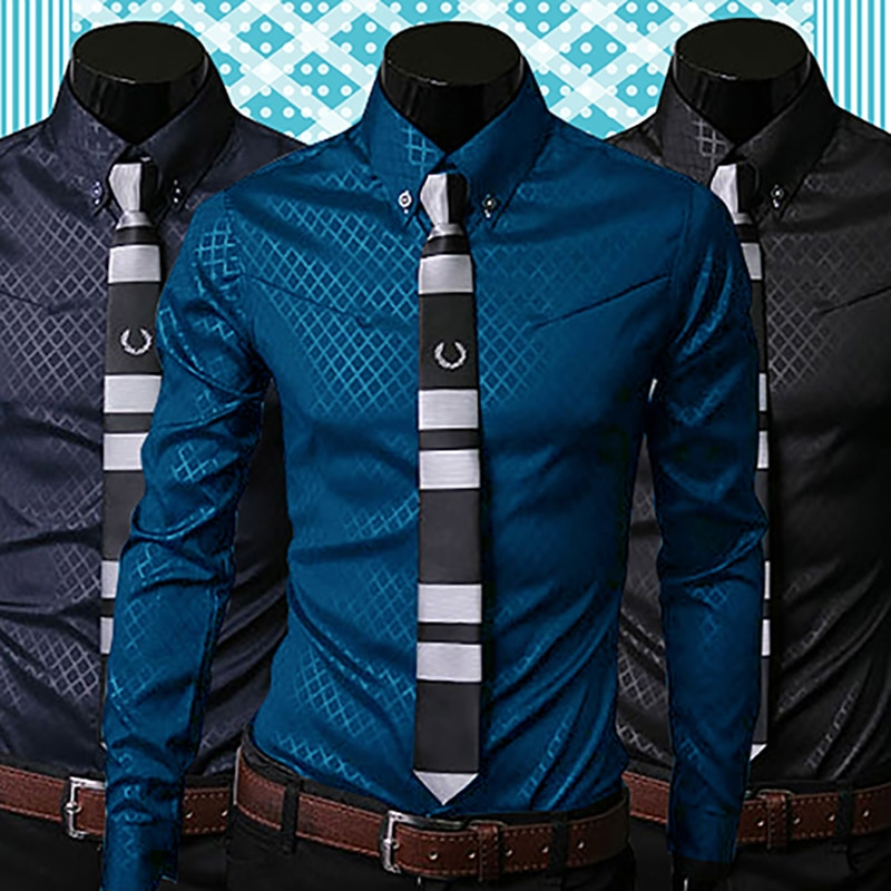 New Argyle luxury men's top Formal Social Business Style Slim Soft Comfort Long Sleeve Casual Dress Tops Gift For Men Clothing