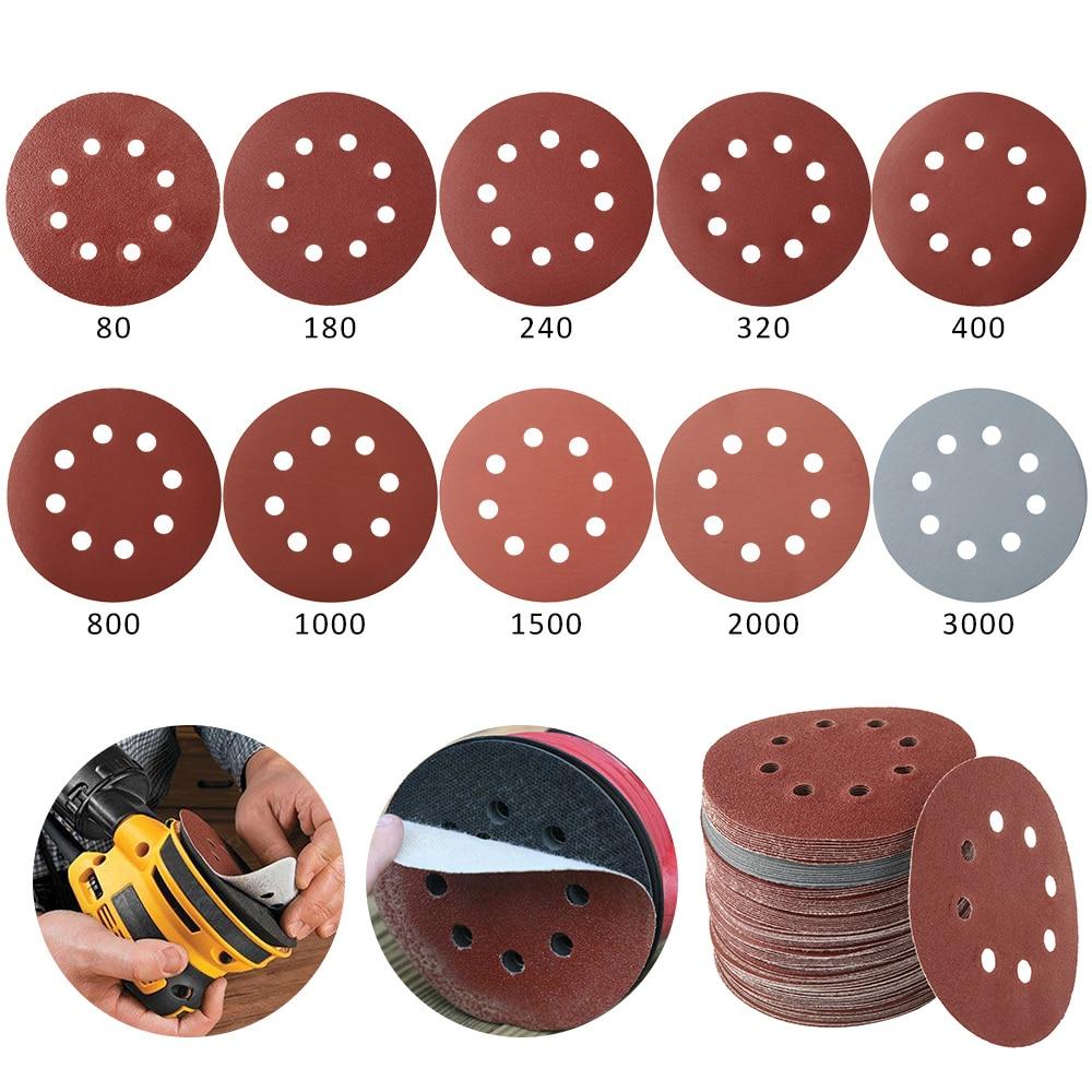 100 vnt. 125 mm šlifavimo popieriaus apvalios formos šlifavimo - Abrazyviniai įrankiai - Nuotrauka 3