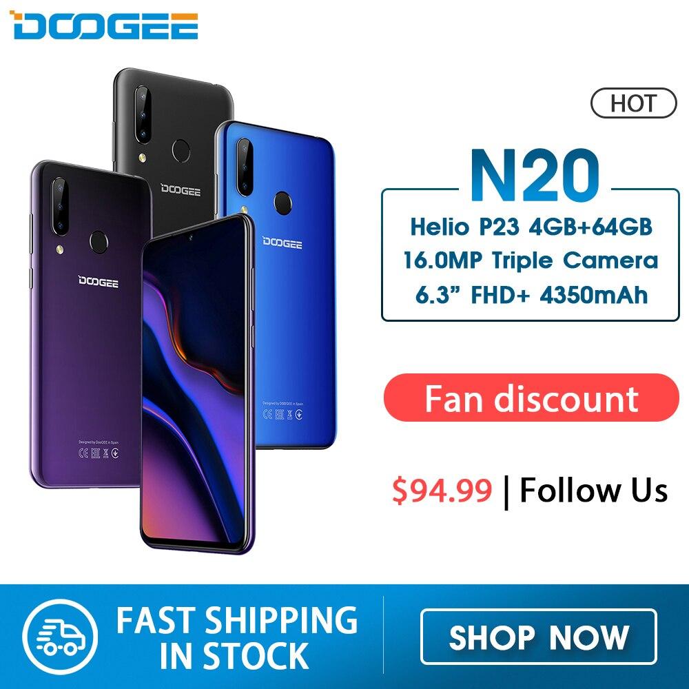 DOOGEE N20 64GB 4GB MT6763 אוקטה Core Mobilephone טביעות אצבע 6.3 אינץ FHD + תצוגת 16MP חזרה משולש מצלמה 4350mAh נייד LTE