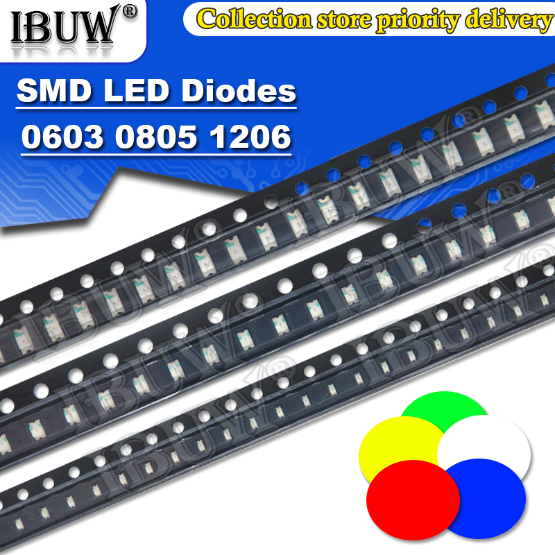 100pcs 0402 0603 0805 1206 1210 smd led Red Yellow Green White Blue light emitting diode Clear LED Light Diode Set