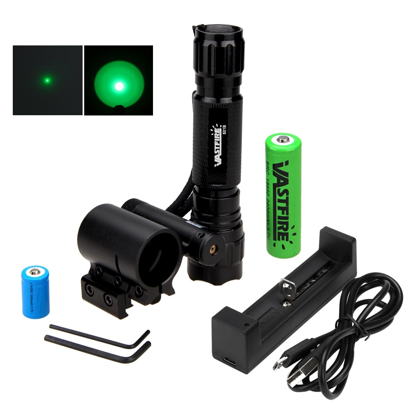 501B linterna LED táctica de caza linterna para Rifle linterna arma luz + 20mm montaje en riel + láser Dot + 18650 + CR2 + cargador USB