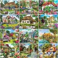 Evershine     peinture de diamant 5D a mosaique de paysage de jardin  broderie complete de maison en point de croix  a bricolage soi-meme  decoration artisanale