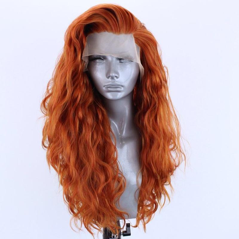 Perucas sintéticas de alta temperatura alaranjadas do laço da parte dianteira do cabelo da fibra de rongduoyi para a onda natural longa 13x3 do laço peruca com parte lateral