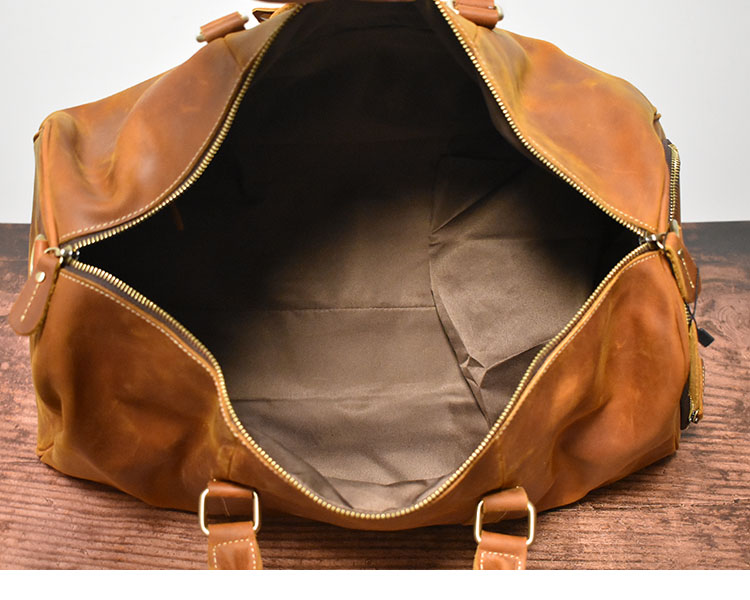 Винтажные коричневые дорожные сумки из натуральной кожи Crazy Horse для мужчин, дорожные тоуты из натуральной кожи с чехлом для обуви