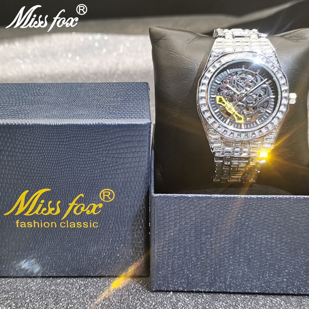 Hip Hop MISSFOX Hollow Mens Watches Automatic Mechanical Iced Out Fashion Square AAA Diamond Male Luxury Clock Relógio Masculino enlarge