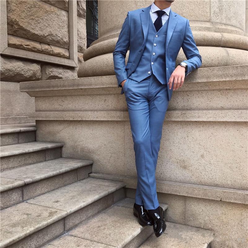 جديد الأزرق رجال الأعمال الدعاوى حفلة موسيقية ارتداء الزفاف العريس البدلات الرسمية 3 قطع (سترة + بنطلون + سترة) العريس الدعاوى أفضل رجل