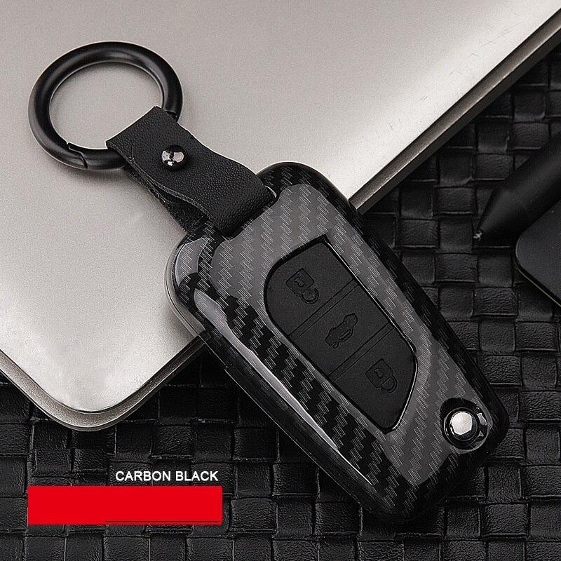 ABS Carbon fiber Car Remote Smart Key Case Cover Holder Flip Key For Toyota RAV4 REIZ CROWN LEVIN YARiS Highlander Camry Corolla