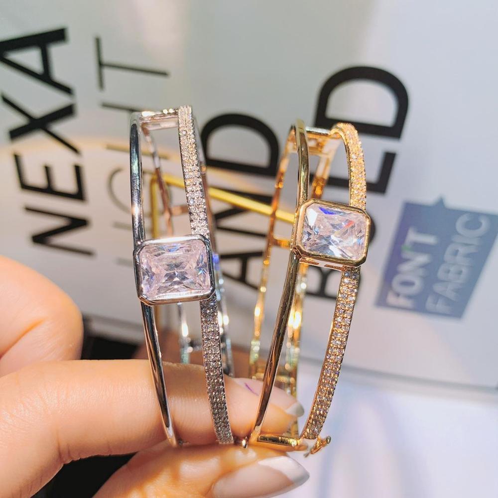 HIBRIDE Personalize Luxury Simple Initial Knot Open Cuff Bangles/Bracelets for Women Wedding Full Zircon Dubai Bridal Jewel B-53