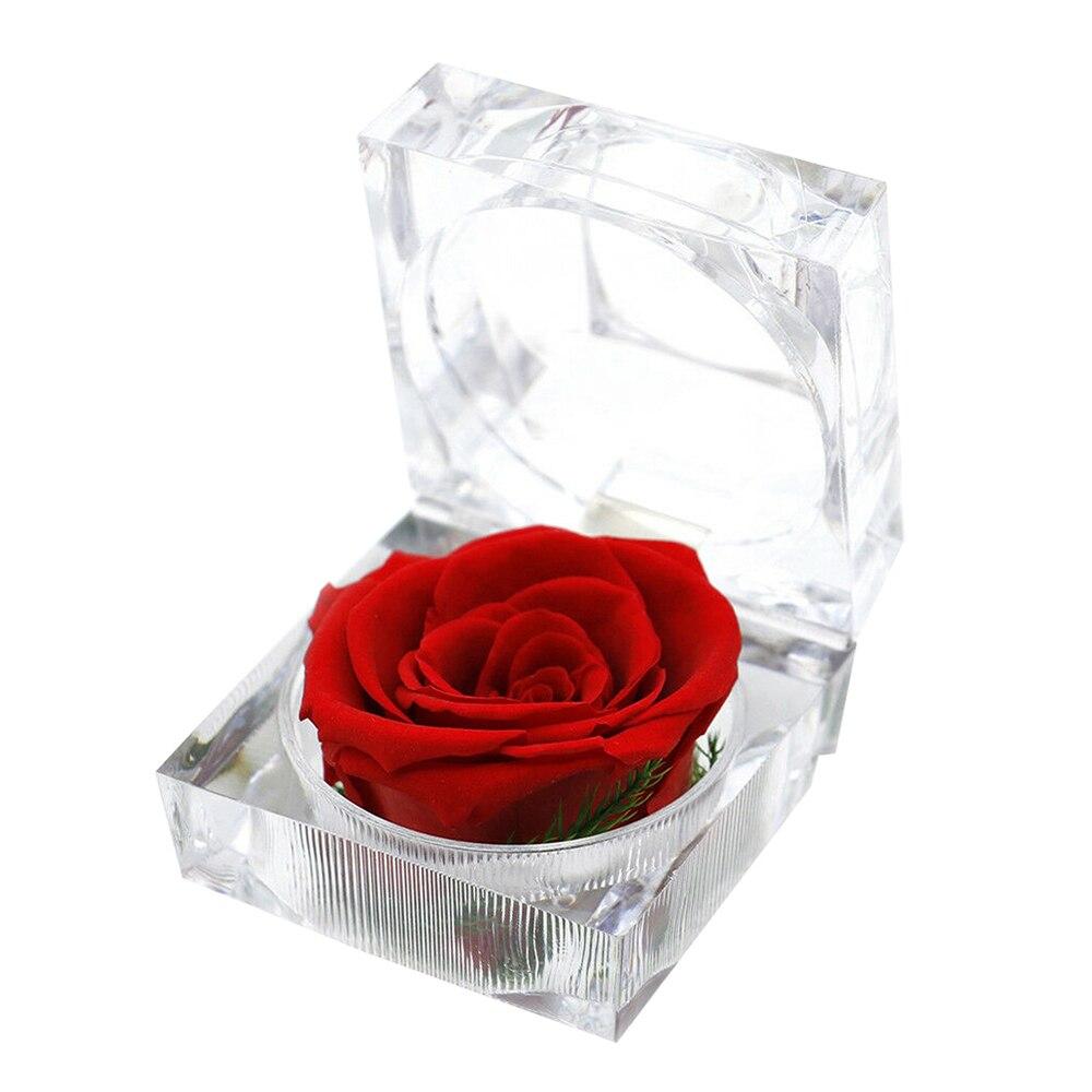 Caja de anillo de flores frescas conservadas inmortales, caja de cristal de embalaje de regalos románticos de Valentine para boda