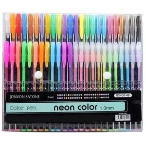 48 pçs cores glitter esboço desenho cor caneta marcadores gel canetas definir recarga rollerball pastel neon marcador escritório