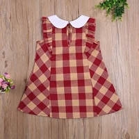 2021 summer breathable little girls dress toddlers creative plaid pattern doll collar fly sleeve back button princess skirt