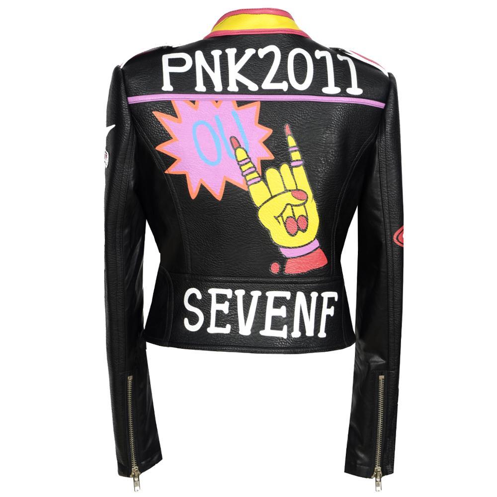 New Autumn Winter Women Faux Leather Jackets Badge Coats Lady Black PU Rivet Zipper Epaulet print Graffiti Motorcycle Streetwear enlarge