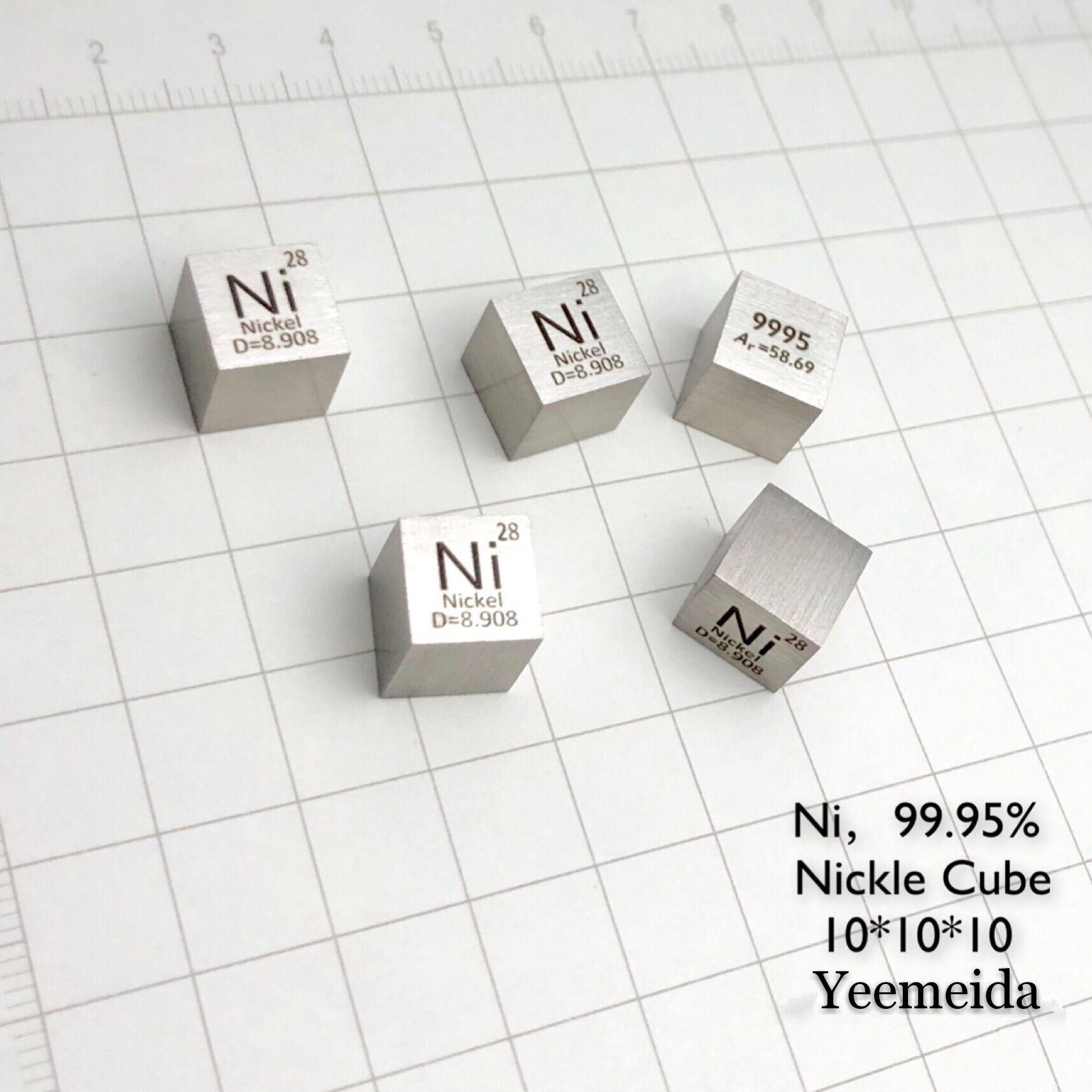 Envío Gratis, 5 uds y 10 Uds., Cubo de 10mm con 99.95% de pureza Ni elemento tallado, con lingote/pellet/Bloque de níquel de 8,95g