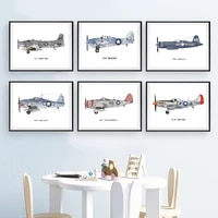 nursery decoration vintage airplane posters and prints airplane kids room wall art canvas painting pictures decor