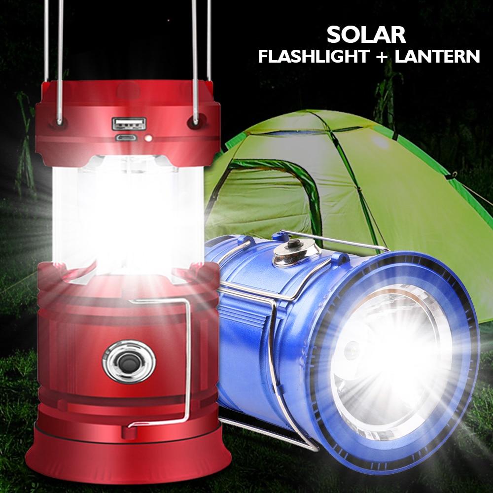 Linterna LED para acampar, linterna portátil de supervivencia superbrillante recargable por USB, para exteriores, tormentas, cortes, luz de Camping