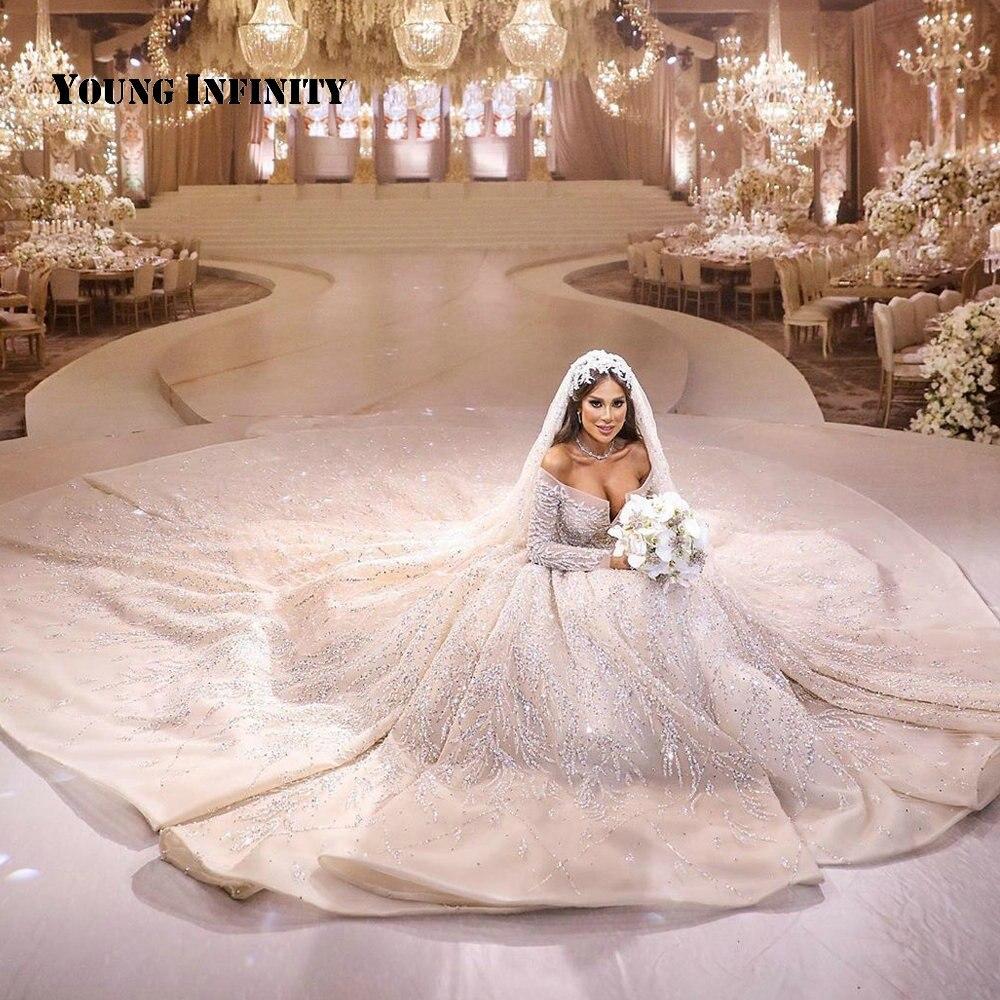 Luxury Royal Train Ball Gown Wedding Dress 2020 Bridal Gown Beading Crystal Sparking Dubai Bride Dress Custom Made Large Size