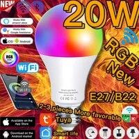 Ampoule intelligente Led E27 B22 RGB  20W  controle avec Alexa Google Assistant ou telecommande IR  projecteur lumineux pour la decoration de la maison