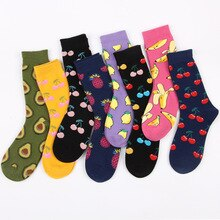 2020 Spring and Autumn Harajuku Lovers  Kawaii Womens Socks  Cotton Cartoon Harajuku Cute Socks Japanese Streetwear Fruit Socks