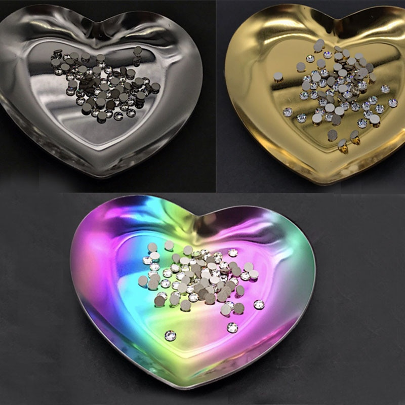 Aço inoxidável coração strass contas cristal armazenamento arte do prego triagem bandejas prato