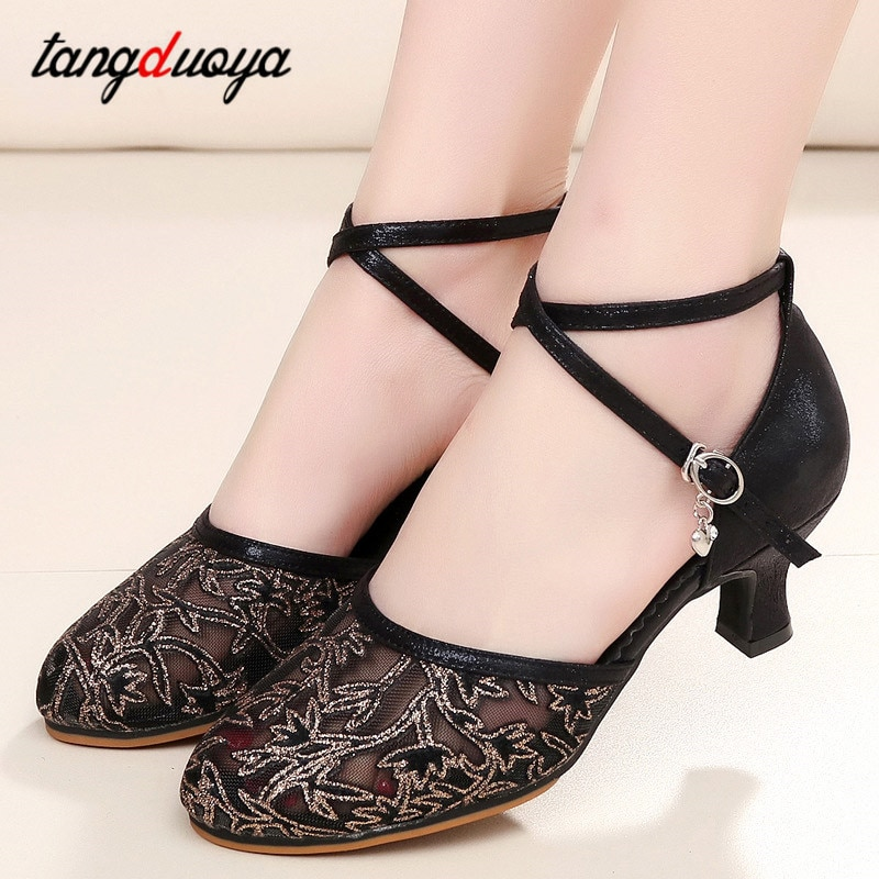 Latin dance shoes female dance shoes transparent mesh tango dance shoes ballroom dancing shoes high heel dance shoes large size