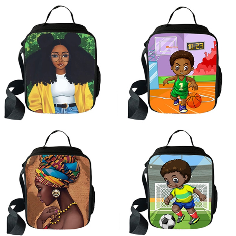 Bolsas de almuerzo Afro negras para niños y niñas, caja de almuerzo portátil para alimentos para niños, caja aislante térmica Americana para Niños, bolsas de Picnic para niños