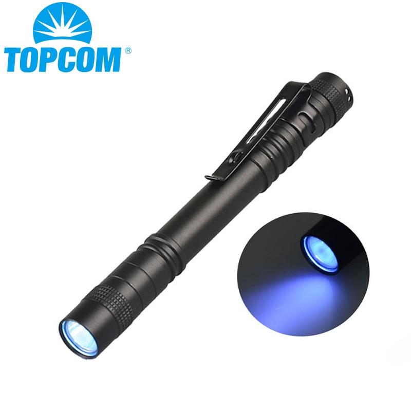 Topcom 3w linterna ultravioleta 365nm 395nm LED UV Penlight Mini Detector de luz UV pluma antorcha uso de linterna AAA batería