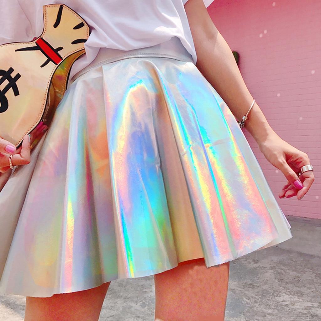 Faldas de colores sólidos para mujer, faldas plisadas de Metal reflectantes holográficas, Mini faldas Sexy de cintura alta de PU, línea A, Mini faldas cortas, pantalones tobilleros, # G
