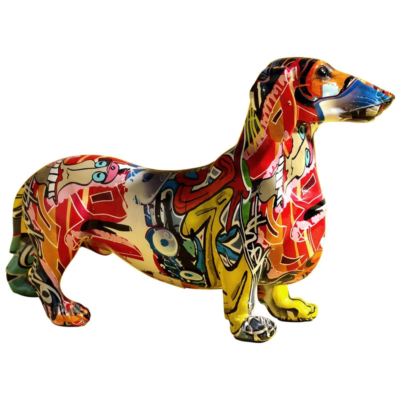 Modern Creative Painted Colorful Dachshund Dog Decoration Home Wine Cabinet Office Decoration Desktop Figurines Crafts For Boys