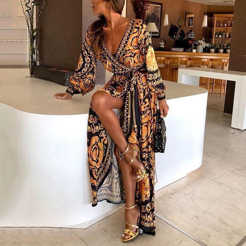 2021 New Style Fashion Elegant Women Sexy Boat Neck Glitter Deep V Neck Print Party Dress Formal Lon