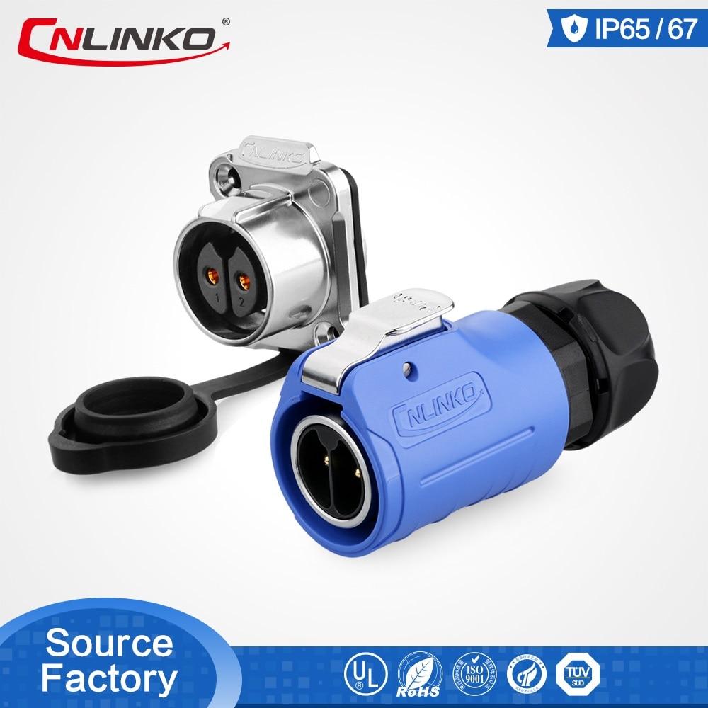 CNLINKO UL CE aprobado M20 azul 2pin rápido bloqueo impermeable Circular conector de alimentación Cable LED Industrial Auto conector Pin Male Female Plug and Panel Socket Electrical Adapter