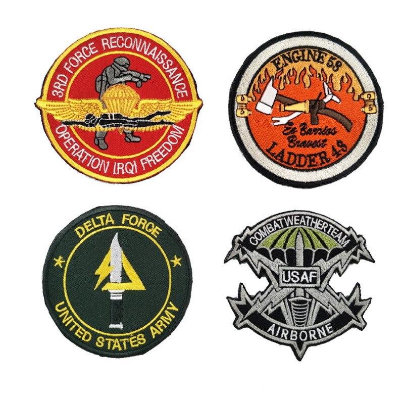 XICC USA Delta bordado parches militares de Velcro Wars Fans del ejército exterior USAF paracaidismo emblema para el hombro Cool parche moral