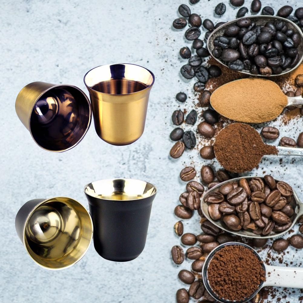 Caliente 80ml de doble pared de acero inoxidable Espresso aislamiento taza de café cápsula taza