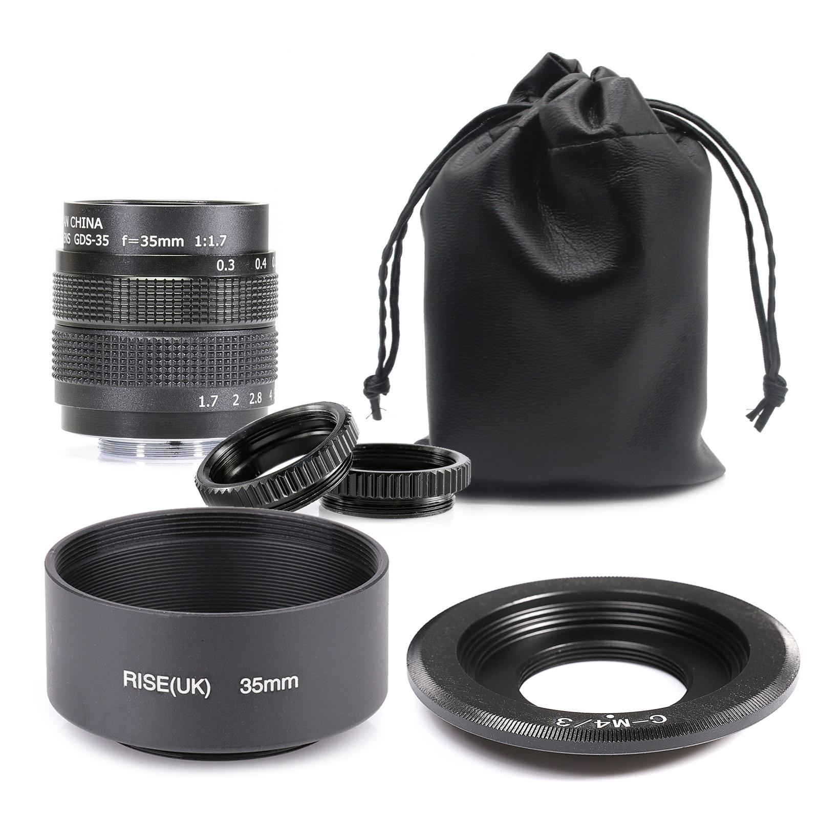 Fujian 35mm f/1,7 APS-C lente CCTV + anillo adaptador + 2 anillo Macro + capucha de lente para P anasonic/O linpus Micro4/3 M4/3 cámara sin espejo