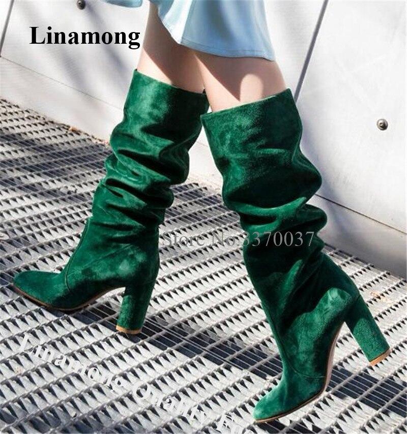חדש אופנה נשים עגול הבוהן זמש עור הברך גבוהה עבה העקב ירוק להחליק על ארוך עבה גבוהה העקב מגפי מגפיים המקסימים