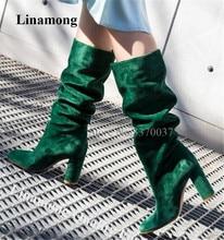 Новые модные женские сапоги до колена из замши с круглым носком на массивном каблуке зеленые сапоги без шнуровки на Высоком толстом каблуке...