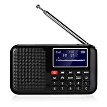Portable FM Pocket Radio Speaker Music Player with Flashlight,Sleep Timer, Support TF Card (Black)