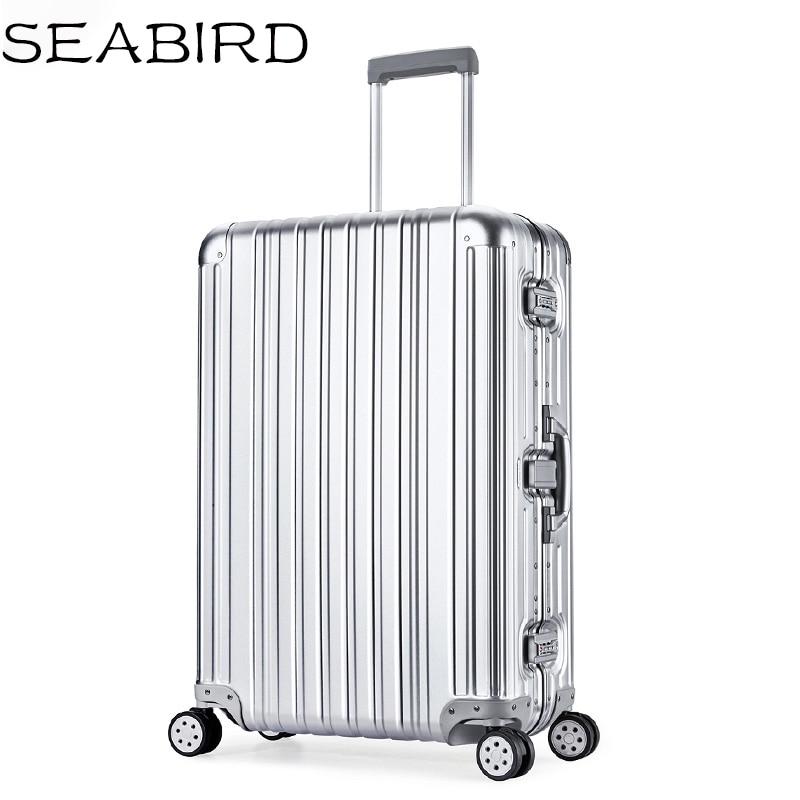 SEABIRD Luxury Aluminum Magnesium Alloy Travel Trolley Luggage Men Full Metal Case Business Suitcase On Wheels Women Brand Rose