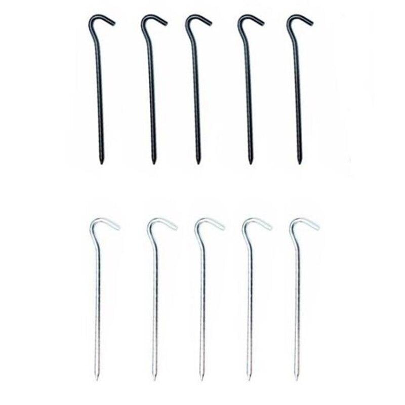 10 Uds. Clavijas de aluminio para tienda de campaña estacas con gancho estacas clavo estacas de jardín para lanzamientos tienda de campaña