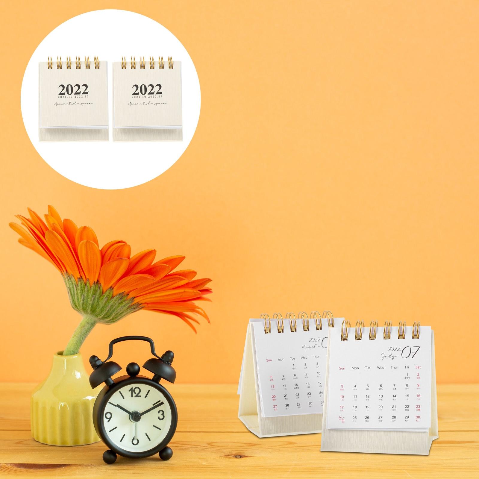 Простые маленькие настольные календари 2 шт., декоративные календари, простые бумажные календари