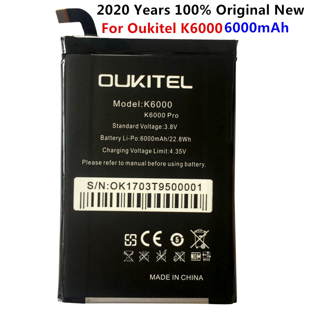 2020 New 100% IST Original K6000 Pro Mobile Phone Battery For Oukitel K6000 Real 6000mAh High Quality Replacement Battery